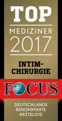 Top Mediziner 2017 - Focuslistung für Intimchirurgie
